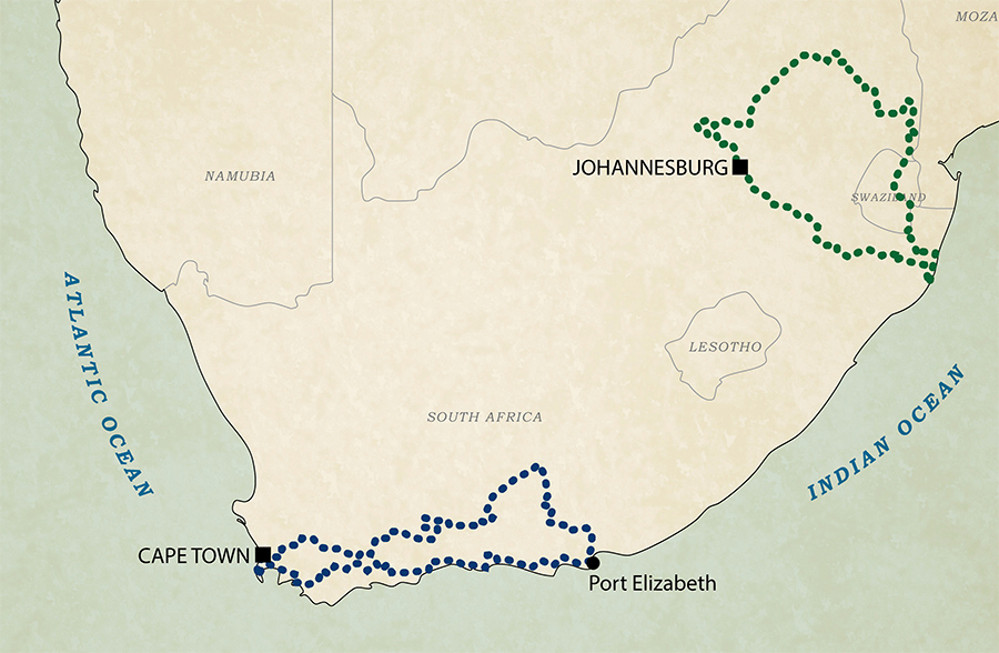Map: All West Forever motorcyle tours in South Africa