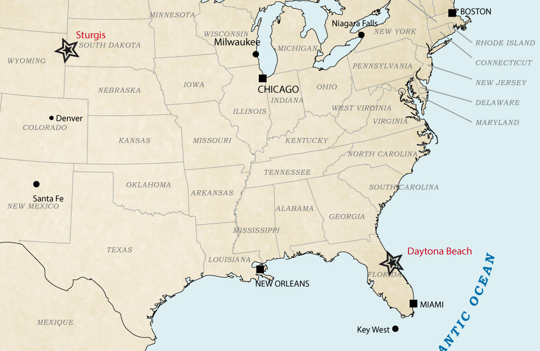 Map Harley Rallies - Daytona - Sturgis