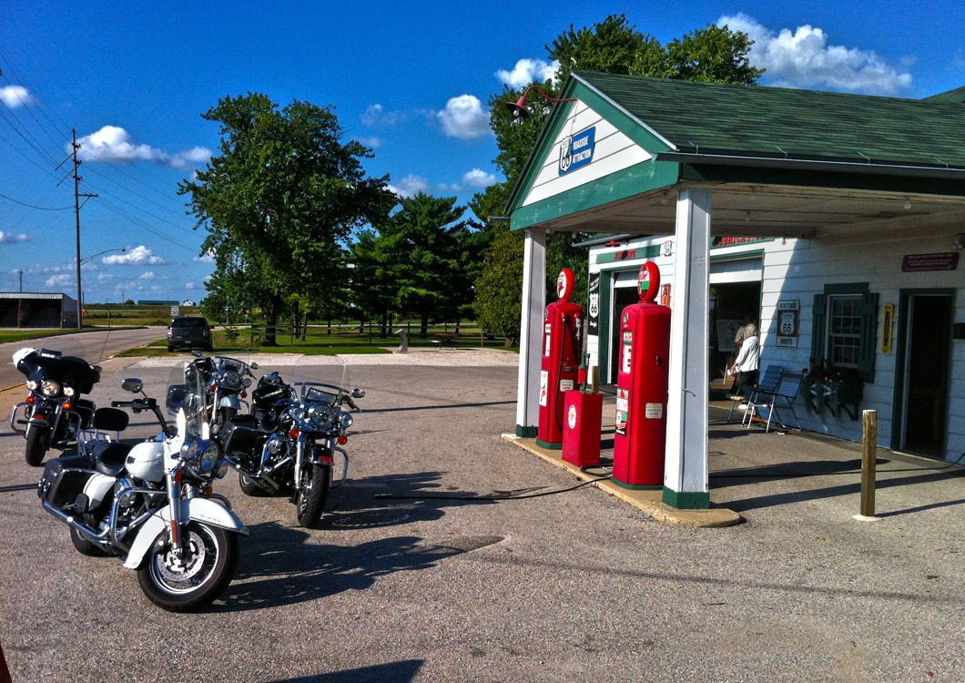 gaz station route 66 with harley davidson motorcycles