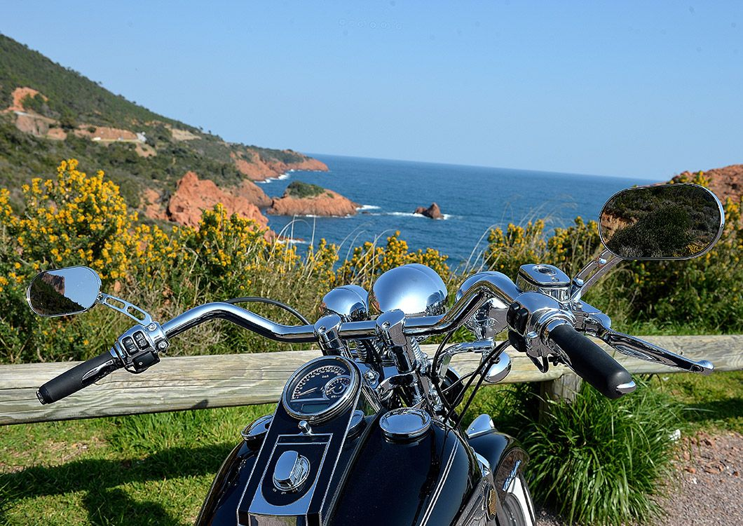 motorcycle by the sea in provence