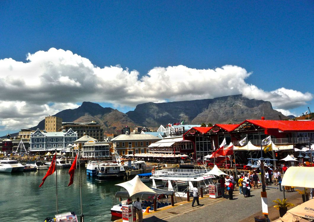 cape town harbour with lions head and table mountain in the background