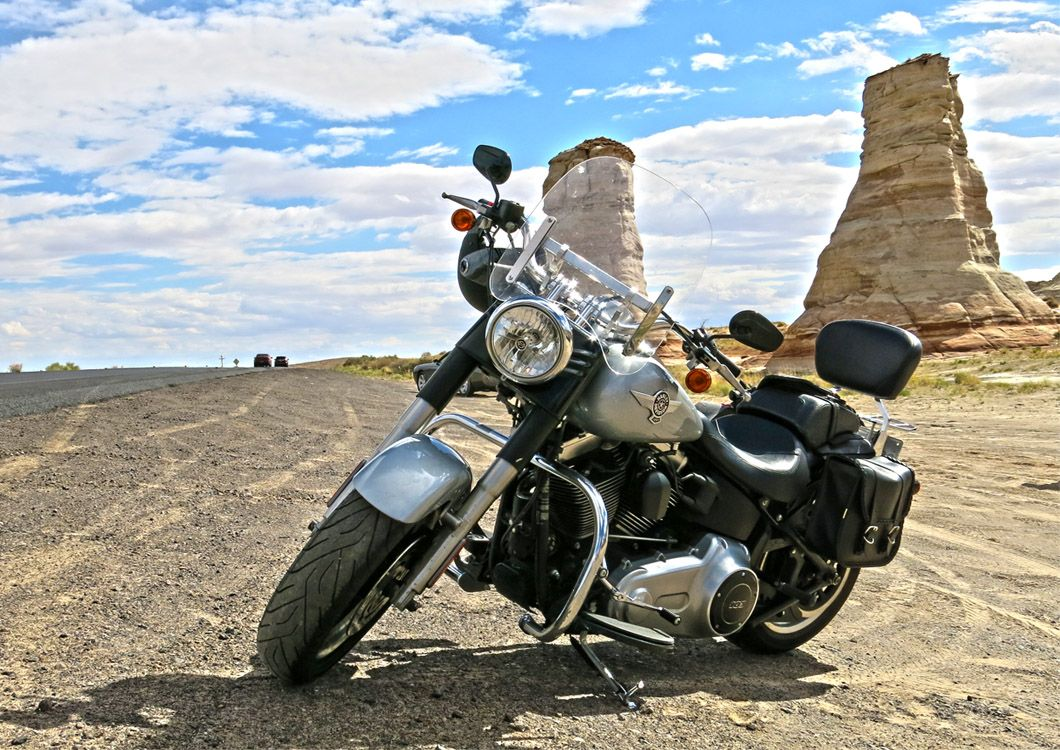 Single motorcycle during west forever canyon country tour