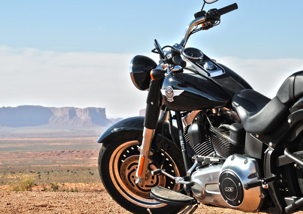 close up picture harley davidson on US landscape