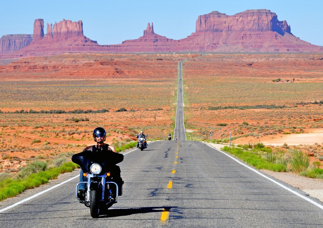 bikers on a straight us road
