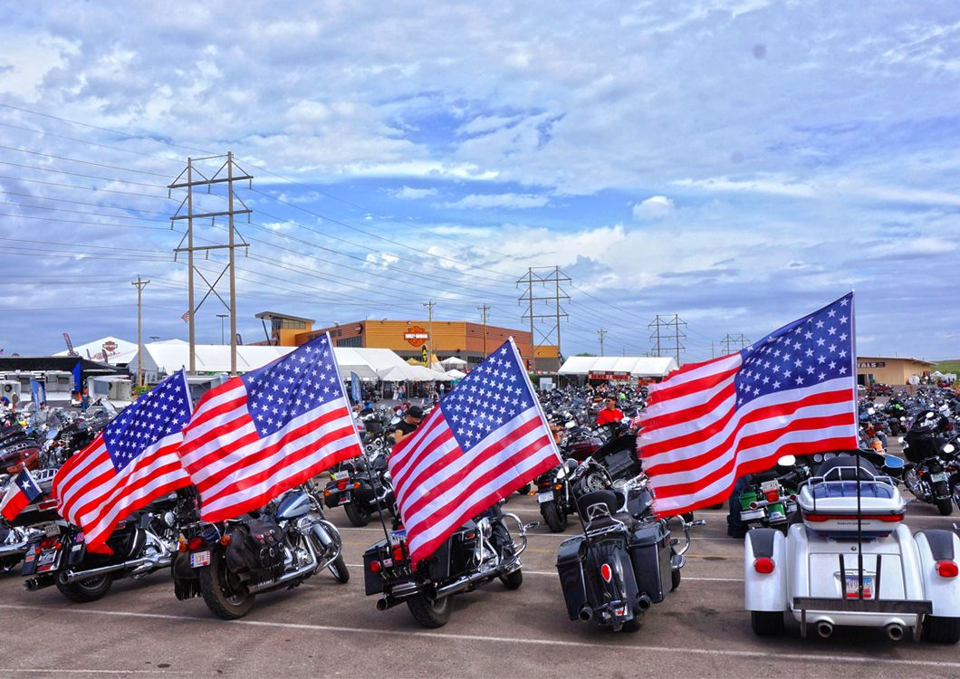 motorcycles with american flags sturgis harley rally